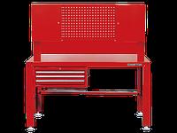 Верстак слесарный 3 полки выдвижных, 2 наверсных шкафа, перфорированная панель KINGTONY