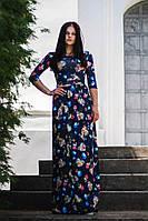 Красивое платье в пол принт голубые розы
