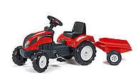 Трактор с педалями и прицепом Ranch Falk  красный