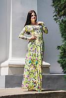Красивое платье в пол принт  МАГНОЛИЯ