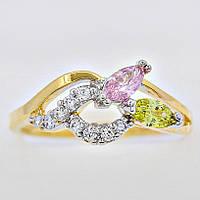 Чарующее кольцо в позолоте 13014-мультиколор светлый-17,5