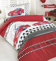 Постельное белье полуторное Arya  ранфорс Ferrari красный