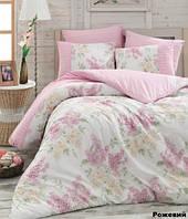 Постельное белье евро  Arya  ранфорс Alacati розовый