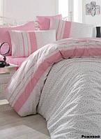 Постельное белье евро Arya  ранфорс Defne розовый