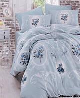 Постельное белье евро Arya  ранфорс Majesty голубой