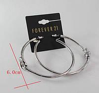 Стильные большые женские серебристые серьги сережки  кольца от Forever 21