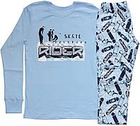 Пижама подростковая для мальчика, голубая с рисунком скейтбордов, рост 152 см, 164 см, Фламинго