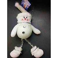 Новогодние украшения, елочная игрушка снеговик войлочные