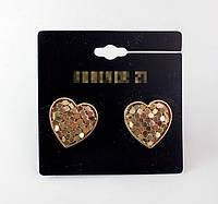 Модные женские позолоченные сережки серьги в форме сердец от Forever 21