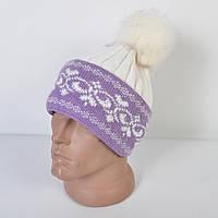 Женская вязанная шапка с меховым помпоном - вензеля - Код 29-584
