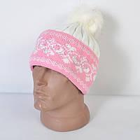 Женская вязанная шапка с меховым помпоном - вензеля - Код 29-586