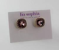 Модные нарядные серьги c камнями розового цвета от Lia Sophia
