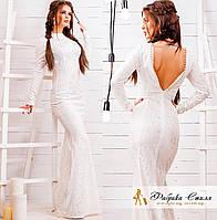 Вечернее платье гипюровое с открытой спиной