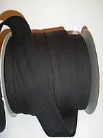 Косая бейка хлопковая, чёрная, 30 мм ширина