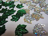 """Пайетка """"кленовый лист"""" 23*21 см, упаковка 10 г (5 г зелёные и 5 г серебро голограмма), фото 1"""