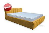 Кровать двуспальная Делис 160х200 без матраса, без ортопедической основы, ткань Финт желтый