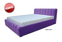 Кровать двуспальная Делис 160х200 с пружинным механизмом и матрасом типа ламель, ткань Рейнбоу пурпурный