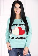 Оптом свитер женский светло-серый вязаный Сердечки