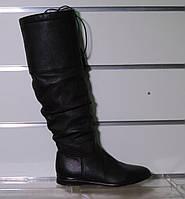 Зимние кожаные сапожки без каблука