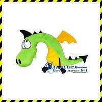 Дизайнерская дорожная Подушка-подголовник Зеленый дракон.