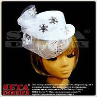 Белая шляпка с вуалью Снежинка