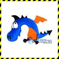 Дизайнерская дорожная Подушка-подголовник Синий дракон.