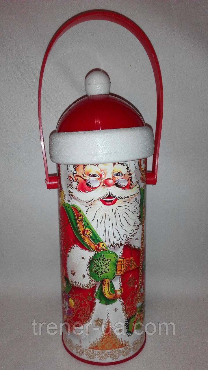 Новорічна упаковка картонний тубус дід Мороз 1000-1100 гр