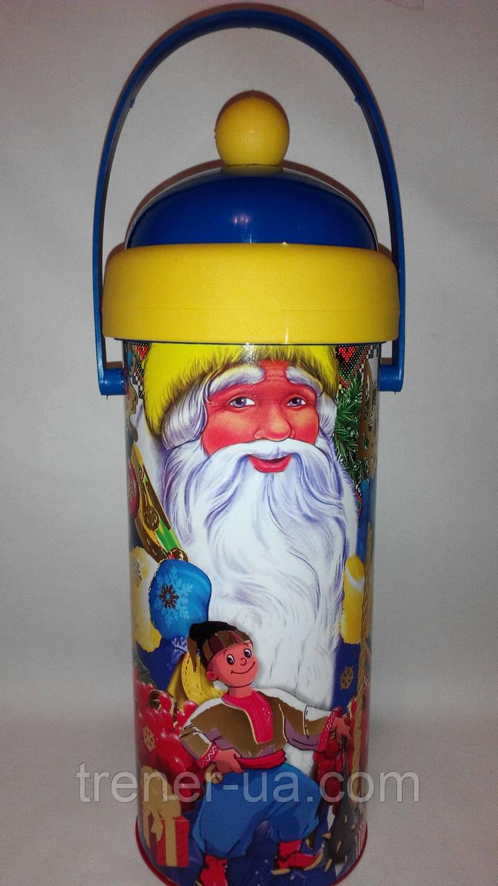 Новорічна упаковка картонний тубус дід Мороз Україна 550-600 гр
