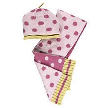 Демисезонная Шапка и Шарф Для Девочки Розовая В Горох  BRUMS, Италия