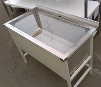Ванна моечная односекционная 1000х500х850 мм с чашей глубиной 400 мм и бортом на каркасе из нержавеющей стали