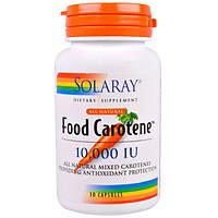 Food Carotene Каротин (натуральная смесь каротиноидов) 10 000 МЕ 30 капс витамины для глаз Solaray USA