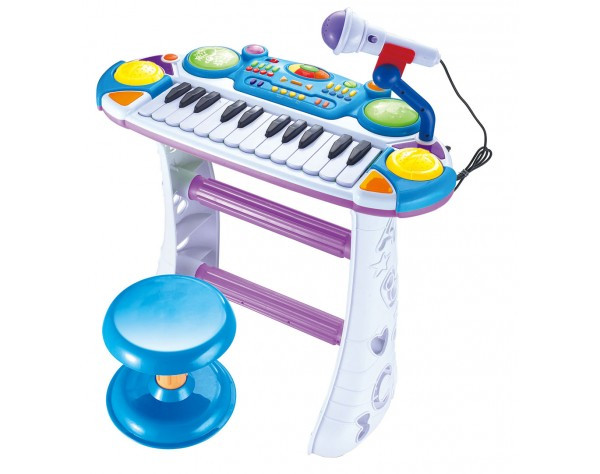 """Пианино 7235BLUE Музыкант, на подставке, стул, микрофон - Интернет-магазин """"Сезон Игрушек"""" в Днепре"""
