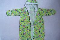 Конверт для новорожденных зеленый хлопковый теплый