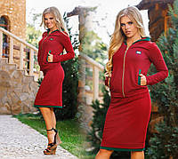 Женский  Стильный костюм  с юбкой бордо