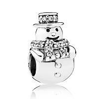 "Шарм ""Снеговик"" из серебра Pandora, 792001CZ"