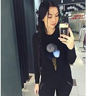 """Женский черный свитер """"мороженое"""""""