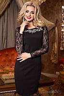 Женское коктейльное приталенное платье с гипюровыми рукавами + большой размер