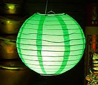 Фонарь бумажный шар светло-зеленый (d = 22 см)