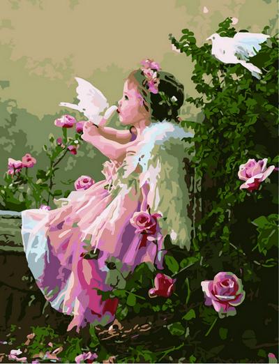Картины по номерам 40×50 см. Ангелочек с голубями Художник Грошев Слава , фото 1