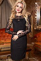 Женское коктейльное приталенное чёрное платье с гипюровым верхом + большой размер