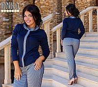 Женский  Стильный костюм с пиджаком брюки мелкая клеточка Батал