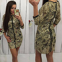 Модное платье с вышивкой золотыми нитями с пайеткой № 907