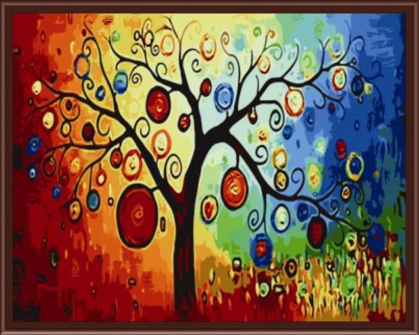 Картины по номерам 40×50 см. Дерево богатства