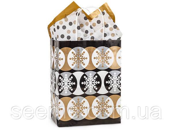 "Пакет новогодний ""Golden snowflakes"" 200x260x120 мм"