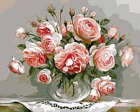 """Раскраски по цифрам 40 × 50 см. """"Розы в стеклянной вазочке"""" худ. Игорь Бузин"""