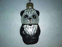 Панда-елочная игрушка стеклянная