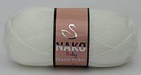 Детская пряжа нитки для вязания Nako Baby Super Bebe. Белая