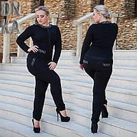 Женский  Стильный костюм с брюками декор камни сваровски Батал