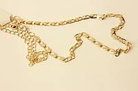 Тонкий женский ремень-цепочка, золотистого цвета