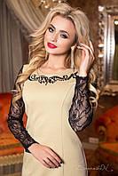 Женское классическое приталенное платье с гипюровыми рукавами + большой размер